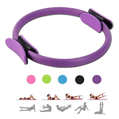 MEABEN 15 Inch Pilates Rings Yoga Pilates Magic Circle Pilates Ultra Fit Exercise Resistance Fitness Toning Ring Workout Fitness Circles with Dual Grip Handles for Home Gym Use,Purple