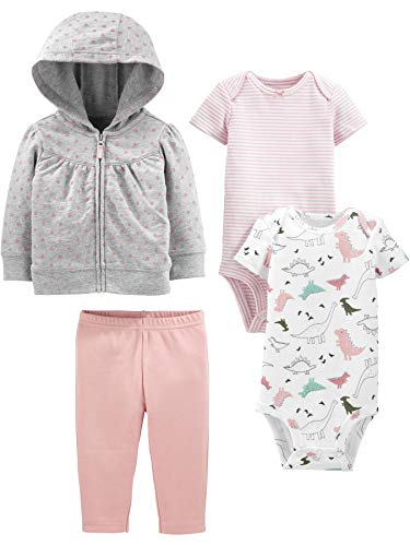 Simple Joys by Carter's Girls' 4-Piece Fleece Jacket, Pant, and Bodysuit Set, Pink Dino, 3-6 Months