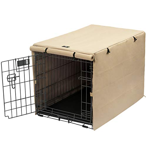 X-ZONE PET Double Door Dog Crate Cover - Polyester Pet Kennel Cover (Fits 24 30 36 42 48 inches Wire Crate) (24 Inch, Tan)