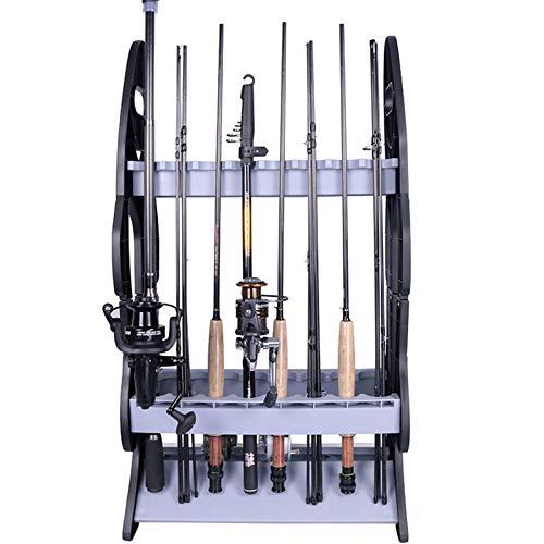 16 Fishing Rod Holder Storage Rack, Fishing Pole Stand Garage Organizer Holds Any Type of Rod or Hiking Sticks Keep It Steady
