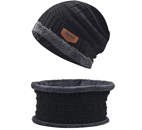 Metog Unisex Winter Knitting Wool Hat Soft Stretch Cable Knit Beanie Hat Skull Cap Warm (Black, Adult)