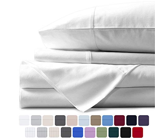 Mayfair Linen 100% Egyptian Cotton Sheets, White Queen Sheets Set, 800 Thread Count Long Staple Cotton, Sateen Weave for Soft and Silky Feel, Fits Mattress Upto 18'' DEEP Pocket