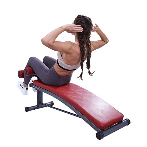 FFiner Form Sit Up Bench with Reverse Crunch Handle for Ab Bench Exercises - Abdominal Exercise Equipment with 3 Adjustable Height Settings
