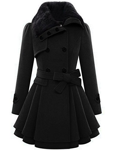 Zeagoo WoMens Fashion Faux Fur Lapel Double-breasted Thick Wool Trench Coat Jacket,Black,X-Large