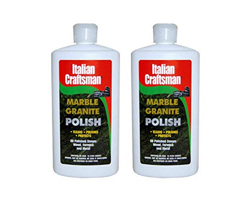 Granite & Marble Polish - Cleans & Protects - Italian Craftsman Made in The USA - Pack of 2 16 Oz ea - Multi-Surface Kitchen & Bathroom Cleaner Polishes Wood Formica Metals Cleans Furniture Sinks