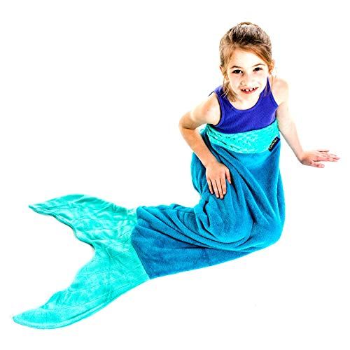 The Original Blankie Tails Mermaid Tail Blanket (Youth Size), Ocean Blue/Aqua