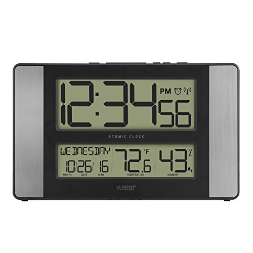 La Crosse Technology 513-1417H-AL-INT Atomic Clock with Temperature & Humidity