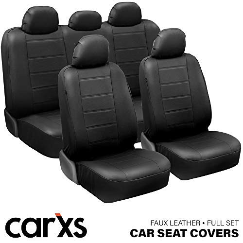 carXS UltraLuxe Faux Leather Car Seat Covers, Full Set – Front and Rear Bench Back Seat Cover, Padded for Comfort, Universal Fit for Cars Trucks Vans & SUVs (Black)