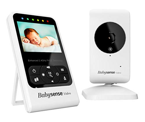 Babysense Video Baby Monitor with Camera and Audio, Long Range, Room Temperature, Infrared Night Vision, Two Way Talk Back, Lullabies and High Capacity Battery, Model V24R