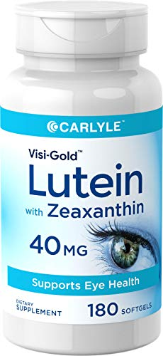Lutein and Zeaxanthin 40 mg  180 Softgels   Eye Health Vitamins   Non-GMO & Gluten Free Supplement   by Carlyle