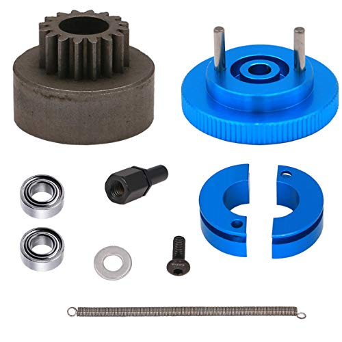 ZYCST 16T Flywheel Clutch Bell & Ball Bearings Set for HSP 94188 1/10 RC 1:10 Car Upgrade Parts Aluminum Alloy 16 Teeth Flywheel Assembly Kit Set (Color: Blue)
