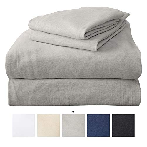 Full Jersey Knit Sheets. All Season, Soft, Cozy Flannel Jersey T-Shirt Sheet Set. Cotton Blend Jersey Sheets. Cozy Flex Collection (Full, Light Grey)