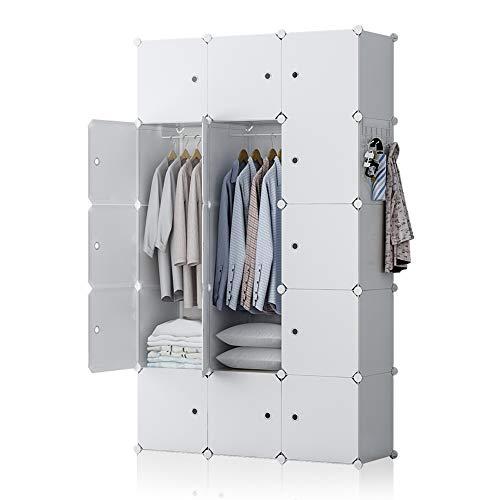 GEORGE&DANIS Portable Wardrobe Closet Plastic Dresser Bedroom Armoire DIY Cube Storage Organizer, White, 18 inches Depth, 3x5 Tiers