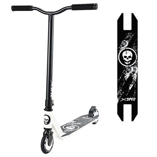 Xspec Pro Stunt Kick Trick Scooter w/Strong Aluminum Deck, White & Black w/Skulls