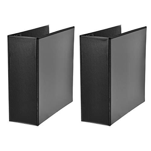 AmazonBasics Heavy-Duty D-Ring Binder - 4 Inch, Black, 2-Pack