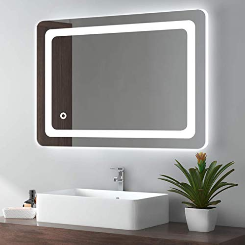 Cozy Castle Bathroom Mirror with LED Lights Lighted Makeup Vanity Mirror Wall Mounted Backlit Frameless Large Size 32x24 inch Rectangular, Memory Touch, Horizontal/Vertical, Warm White/Daylight Lights