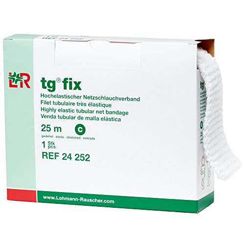 Lohmann & Rauscher tg Fix Net Tubular Bandage, Elastic Net Wound Dressing, Bandage Retainer for Large Extremities, Size C (65.0cm Wide x 25m Long When Stretched)
