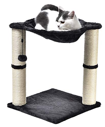 AmazonBasics Cat Condo Tree Tower With Hammock Bed And Scratching Post, 16 x 20 x 16 Inches, Gray