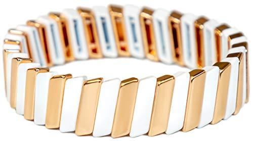 White & Gold Tile Bracelets for Women   Enamel Bracelets for Women   Stackable Bracelet for Women   Fashion Bracelets for Women with Stretchy Elastic Interior