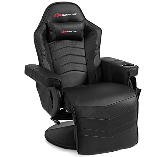 Goplus Massage Gaming Chair, Racing Style Gaming Recliner w/Adjustable Backrest and Footrest, Ergonomic High Back PU Leather Computer Office Chair Swivel Game Chair w/Cup Holder and Side Pouch