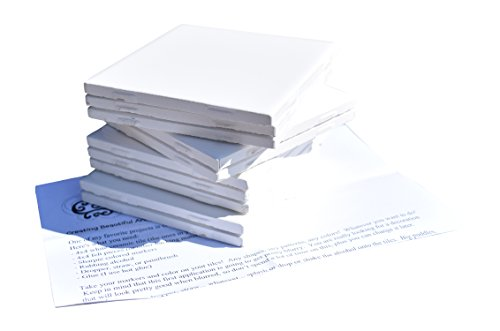 Glossy Ceramic Tiles Kit 4x4 Each Plus Exclusive 2 Page Guide for Tile Crafts (Set of 10) (White)