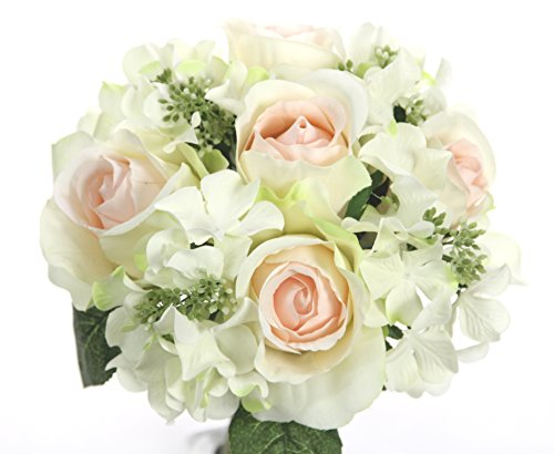 Admired By Nature 9 Stems Artificial Rose Hydrangea Mixed Bouquet, Cream/Pink