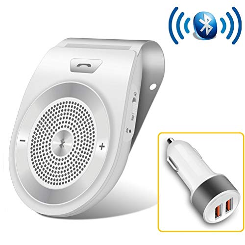 Bluetooth Handsfree for Cell Phone Car Speaker, Aigital Wireless Car Speakerphone on Sun Visor, Clear Sound for Hands Free Calling Music, AUTO Power ON Function and Supports Siri - White