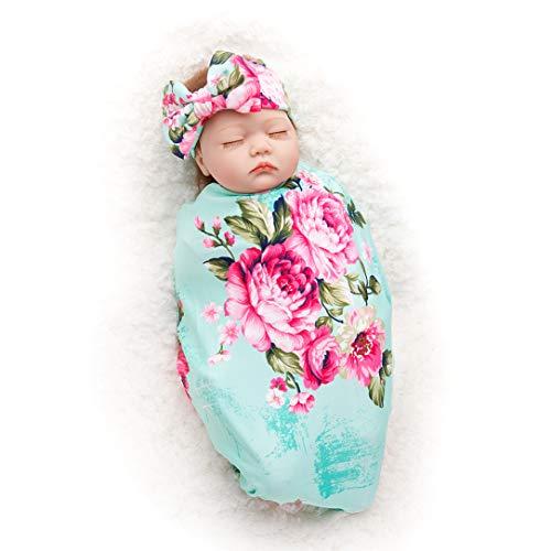 Bucaum Newborn Floral Receiving Blankets Newborn Baby Swaddling with Headbands or Hats Sleepsack Toddler Warm (1-Green)