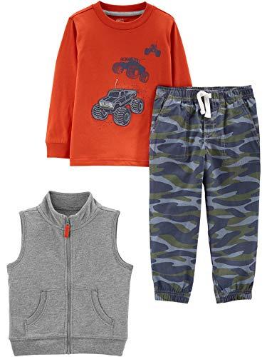 Simple Joys by Carter's Boys' Toddler 3-Piece Fleece Vest, Long-Sleeve Shirt, and Woven Pant Playwear Set, Tanks/Camo, 5T