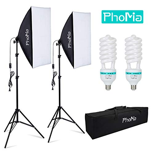 Phomia Softbox Lighting Kit 1350W Professional Studio Photography Continuous Equipment with 135W 5500K E27 Socket Lights and 2 Reflectors 20 x 28 Inch for Portrait Item Fashion Photography