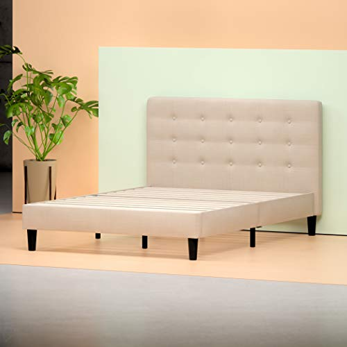 Zinus Ibidun Upholstered Button Tufted Platform Bed/ Mattress Foundation/ Easy Assembly/ Strong Wood Slat Support, Queen