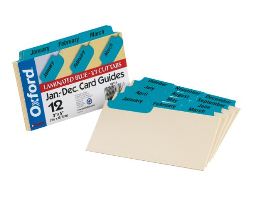 Oxford Index Card Guides with Laminated Tabs, Monthly, January-December, 3' x 5' Size, Blue, 12 Guides per Set (3513)