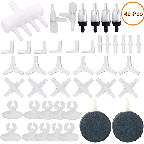 Y-Axis 49 Pcs Aquarium Air Pump Accessories with Airline Connectors, Airline Splitters, Bubble Stones, Check Valves and Suction Cups for 3/16 '' Fish Tank Pond Airline