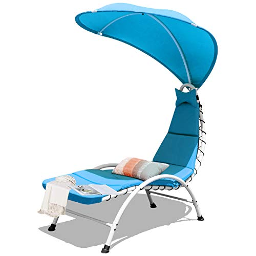 Giantex Chaise Lounger Chair, Arc Stand Porch Swing Hammock Chair w/Wide Canopy Sun Shade, Soft Cushion Removable Headrest for Garden Backyard Poolside (Blue)