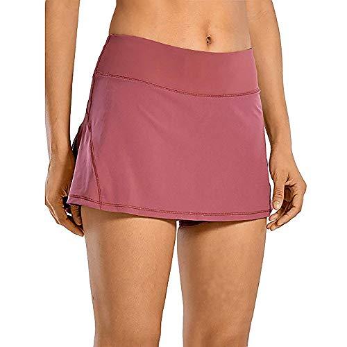 Raroauf Women's Tennis Skort Active Pleated Skirts with Pocket for Running Golf Wine Red M-US 4
