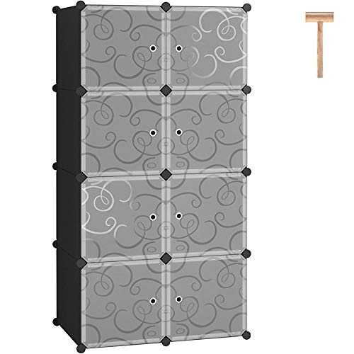 C&AHOME Cube Storage Organizer, 8- Cube DIY Plastic Closet Cabinet, Modular Book Shelf Organizer Units, Storage Shelving Ideal for Bedroom Living Room Office with Doors, Black