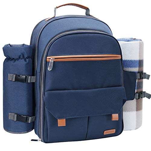 Sunflora Picnic Backpack for 4 Person Set Pack with Insulated Waterproof Pouch for Family Outdoor Camping (Navy Blue)