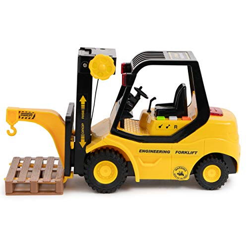 Toy To Enjoy Forklift Truck with Pallet & Cargo – Friction Powered Wheels & Manual Lifting Control - Heavy Duty Plastic Lifting Vehicle Toy for Kids & Children