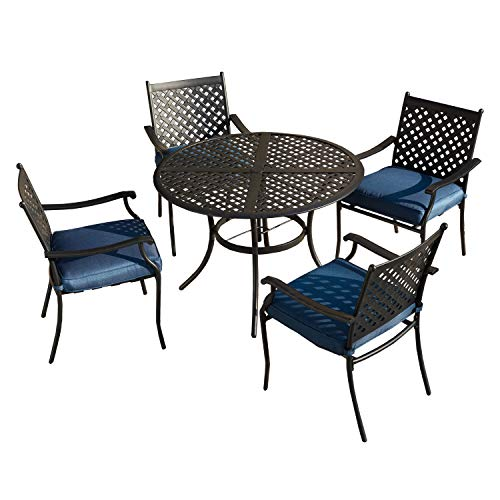 LOKATSE HOME 5 Piece Outdoor Patio Metal Dining Set with 4 Outdoor Iron Arm Dining Chairs with Seat Cushions and 1 Outdoor Dining Table with Umbrella Hole-Blue