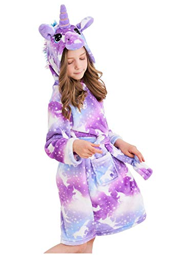 Soft Unicorn Hooded Bathrobe Sleepwear - Unicorn Gifts for Girls (7-9 Years, Unicorns Purple)