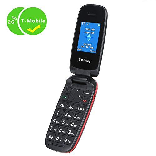 Ushining Unlocked Flip Cell Phone GSM 2G Dual SIM Dual Standby for T Mobile (Black)
