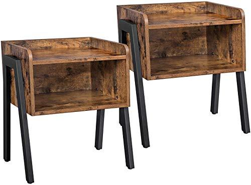 JISOSO Industrial Nightstand, Set of 2 Stackable End Table, Side Table for Small Spaces, Vintage Woodgrain MDF Board, Metal Frame, Rustic Brown