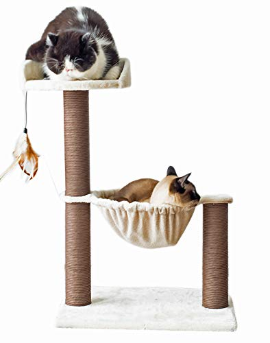 Catry, Cat Tree Hammock Bed with Natural Sisal Scratching Posts and Teasing Feather for Kitten (Version 1)