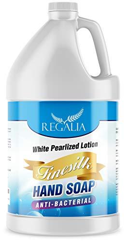Antibacterial/Antimicrobial Finesilk White Pearlized Lotion Liquid Hand Soáp: Bulk One Gallon (128 oz) Refill Jug. PH Balanced Ultra-Strength. Made In USA