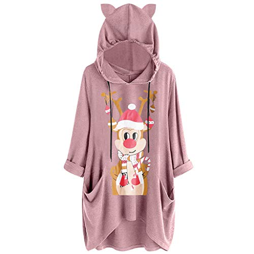 Dermanony Women's Hooded Sweatshirt Fashion Christmas Printed Cat Ear Long Sleeves Pockets Dress Casual Loose Dress