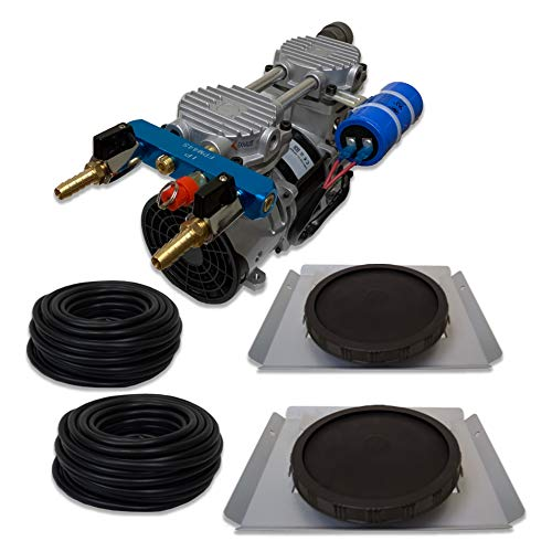 HALF OFF PONDS Pro Deep Water Subsurface Air & Aeration System for Ponds with (1) 3.9 CFM Air Compressor and (2) Single-10 EPDM Rubber Diffuser Discs on Weighted Steel Frames