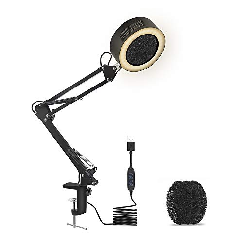 3-in-1 Solder Smoke Absorber Fume Extractor Fan with Carbon Filter LED Lamp 10 Brightness 3 Light Colors Adjustable Arms and Tabletop Clamp for ESD DIY Working Soldering Desoldering Rework Station