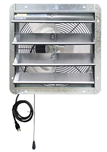 Iliving 16' Wall Mounted Shutter Exhaust Thermostat Control-3 Speeds Vent Fan for Home Attic, Shed, or Garage Ventilation, 1200 CFM, 1800 SQF Coverage Area, Variable, Silver