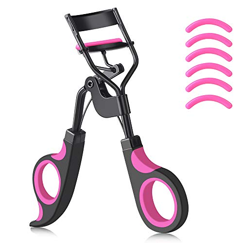 IYOCHO Painless metal eyelash curler with 6 replaceable silicone pads, Fits All Eye Shapes Get The Perfect Curl in 8 Seconds