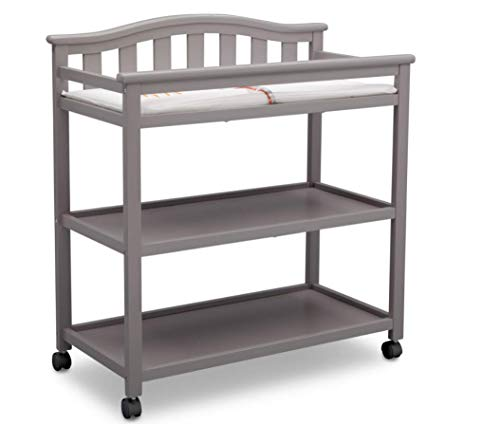 Delta Children Bell Top Changing Table with Wheels and Changing Pad, Grey